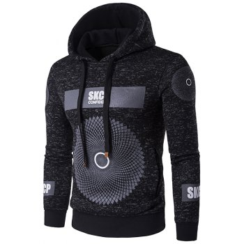 Graphic and Geometric Print Drawstring Cotton Blends Hoodie - BLACK M