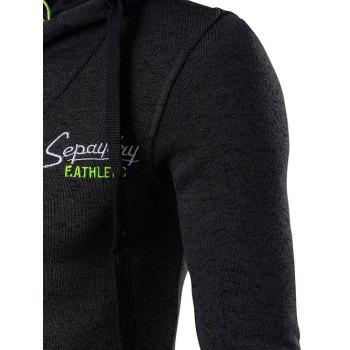 Graphic Embroidery  Drawstring Cotton Blends Hoodie - BLACK M