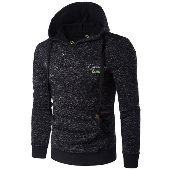 Graphic Embroidery  Drawstring Cotton Blends Hoodie - DEEP GRAY L