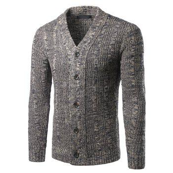 Single-Breasted V-Neck Knit Blends Cardigan
