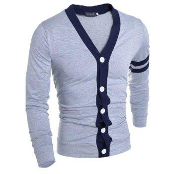 Stylish V-Neck Color Block Stripes Purfled Design Long Sleeves Cotton Blend Cardigan For Men