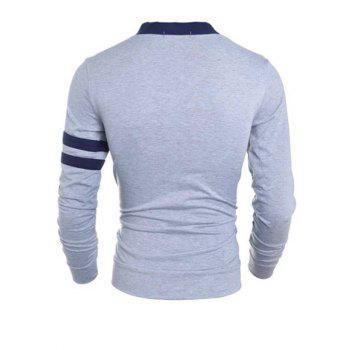 Stylish V-Neck Color Block Stripes Purfled Design Long Sleeves Cotton Blend Cardigan For Men - GRAY GRAY