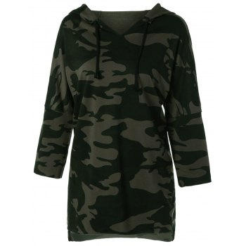 High Low Camouflage Oversized Hoodie