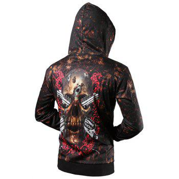 Drawstring Zip Up Skull 3D Printed Hoodie - BROWN BROWN