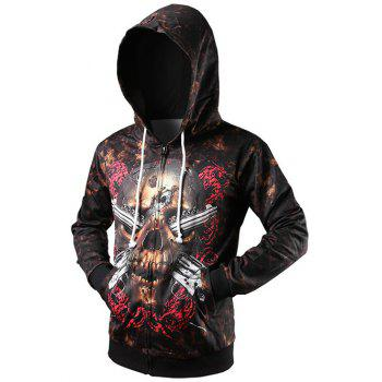 Drawstring Zip Up Skull 3D Printed Hoodie