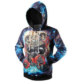 Zip Up Side Pocket Crown Skull 3D Print Hoodie