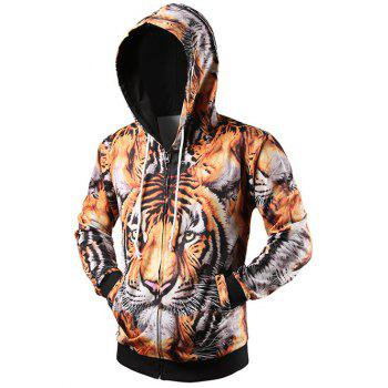 Drawstring 3D Tiger Printed Zip Up Hoodie