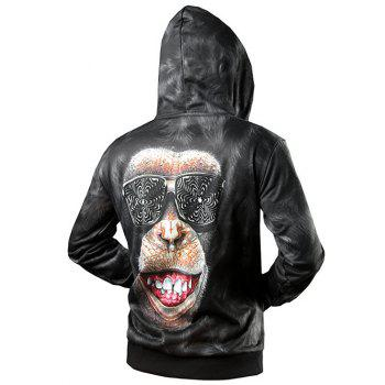 Side Pocket Zip Up 3D Gorilla Printed Hoodie - BLACK 2XL