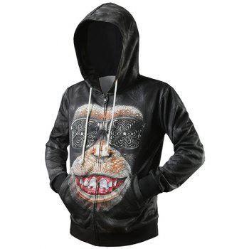 Side Pocket Zip Up 3D Gorilla Printed Hoodie - BLACK BLACK