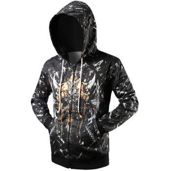 Drawstring Zip Up Rib Cuff Graphic Hoodie - BLACK 2XL