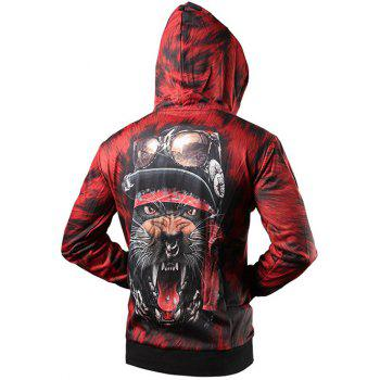 Zip Up Rib Insert 3D Animal Printed Hoodie - RED 2XL