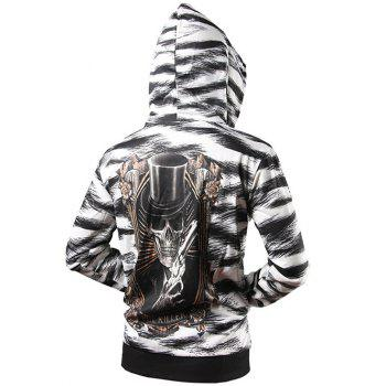 Zip Up Zebra Striped Graphic Hoodie - BLACK BLACK