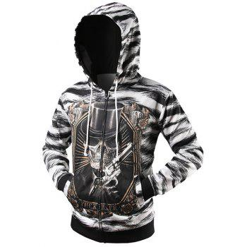 Zip Up Zebra Striped Graphic Hoodie