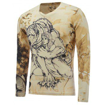 3D Graphic Printed V Neck Long Sleeve T-Shirt