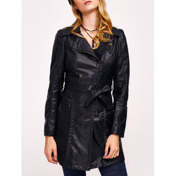 Faux Leather Zip Belted Coat