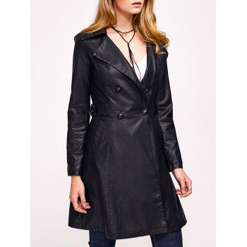 Double-Breasted Faux Leather with Pockets Coat