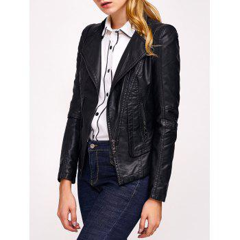 Faux Leather Zip Biker Jacket