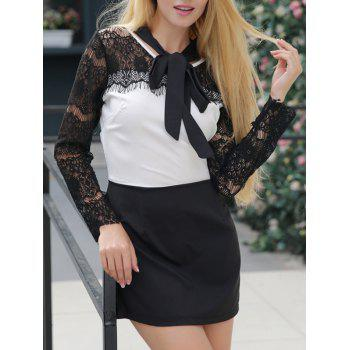 Tie-Neck Lace-Paneled Contrast Dress