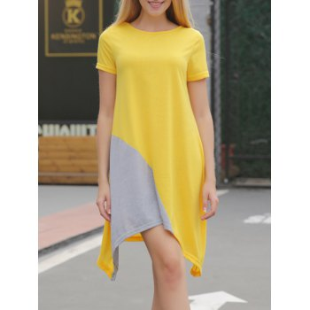 Asymmetrical Contrast Casual Dress With Short Sleeve