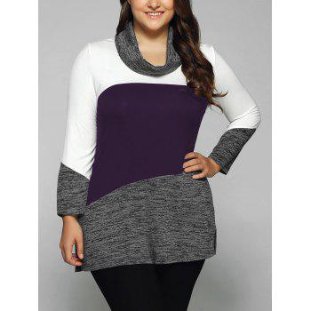 Plus Size Cowl Neck Heathered Blouse