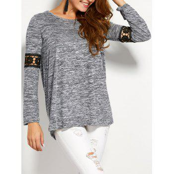 Space Dyed Lace Panel Tunic Top
