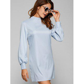 Long Sleeve Cut Out Plain Chiffon Dress
