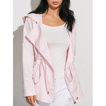 Drawstring Waist Hooded Casual Trench Jacket