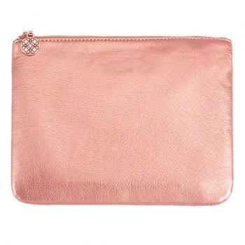 Zip Up Faux Leather Makeup Bag