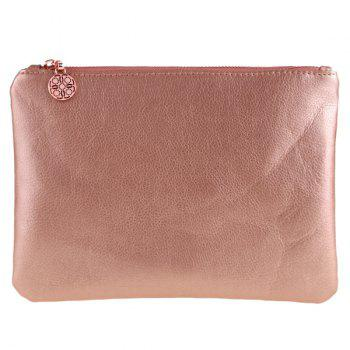 Zip Up Faux Leather Makeup Bag - PINK