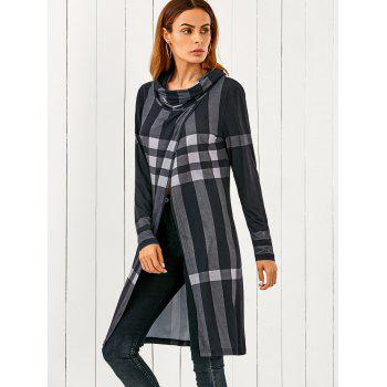 Cowl Neck Front Slit Plaid T-Shirt - CHECKED L