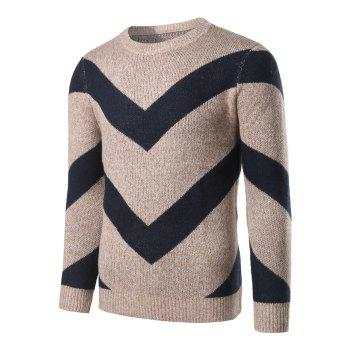 Striped Jacquard Crew Neck Pullover Heather Sweater