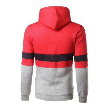 Kangaroo Pocket Color Block Striped Pullover Hoodie - RED L