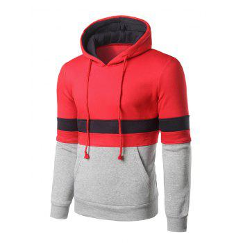 Kangaroo Pocket Color Block Striped Pullover Hoodie - RED RED