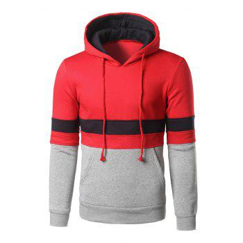 Kangaroo Pocket Color Block Striped Pullover Hoodie - RED M
