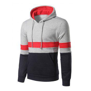 Kangaroo Pocket Color Block Striped Pullover Hoodie - LIGHT GREY S