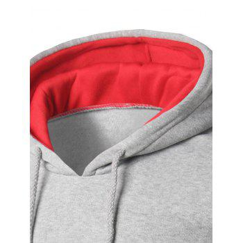 Kangaroo Pocket Color Block Striped Pullover Hoodie - LIGHT GREY LIGHT GREY