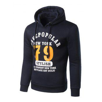 Slim Fit 79 Print Pullover Hoodie - CADETBLUE 4XL