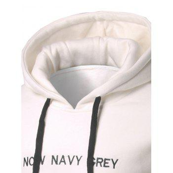 Kangaroo Pocket Letter Embroidery Pullover Hoodie - WHITE WHITE