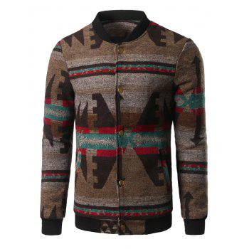 Retro Stand Collar Button Up Jacquard Jacket