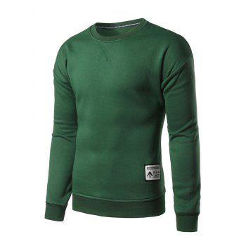 Crew Neck Patch Design Sweatshirt - BLACKISH GREEN BLACKISH GREEN