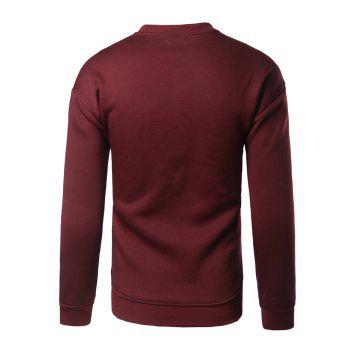 Crew Neck Patch Design Sweatshirt - BURGUNDY BURGUNDY