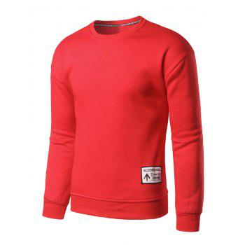 Crew Neck Patch Design Sweatshirt - RED L