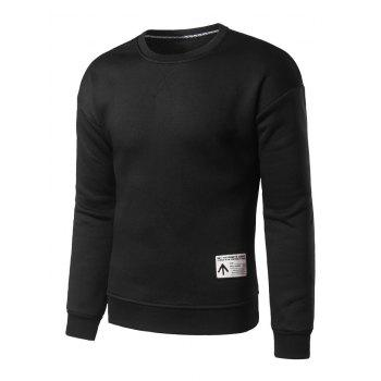 Crew Neck Patch Design Sweatshirt - BLACK S