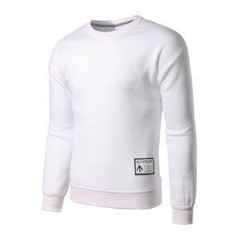 Crew Neck Patch Design Sweatshirt - WHITE XL