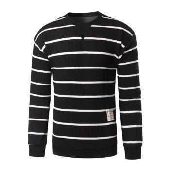 Notch Neck Patch Design Striped Sweatshirt