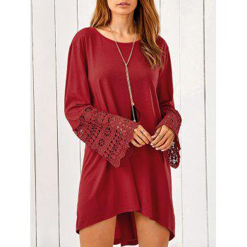 Lace Trim Sleeve High Low Dress