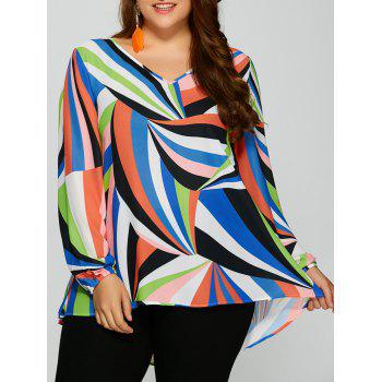 Plus Size Colorful Print High Low Blouse