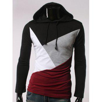 Drawstring Long Sleeve Color Block Hooded T-Shirt