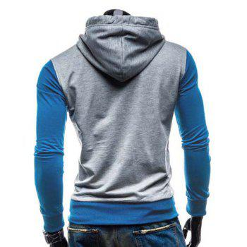 Slimming Hooded Modish Two Color Splicing Button Design Long Sleeve Cotton Blend Men's Hoodie - BLUE M