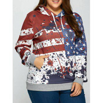 Splashed Ink American Flag Kangaroo Pocket Hoodie